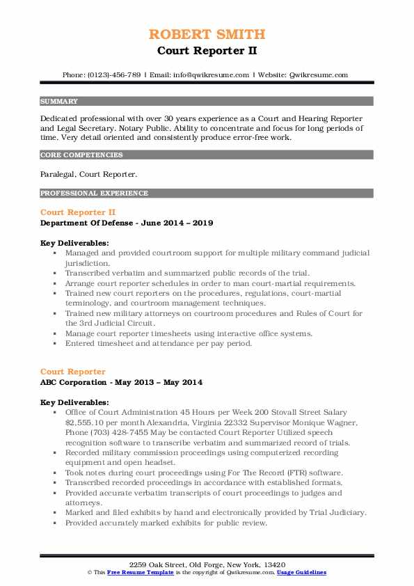 Court Reporter II Resume Model