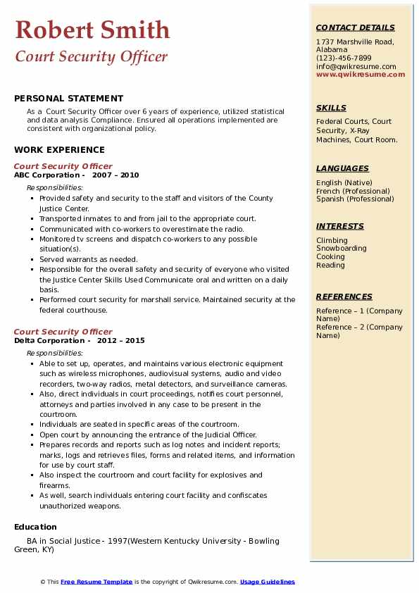 Court Security Officer Resume example
