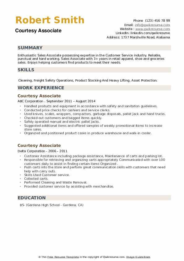 Courtesy Associate Resume example