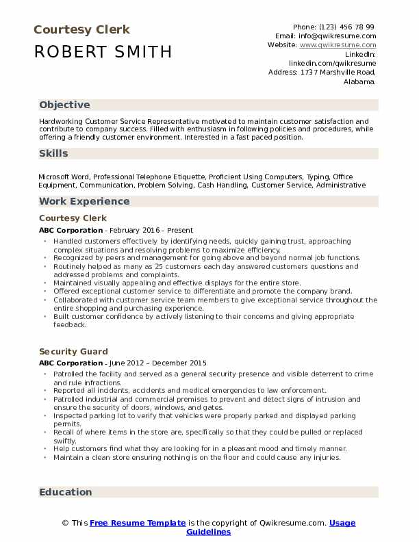 Courtesy Clerk Resume Format
