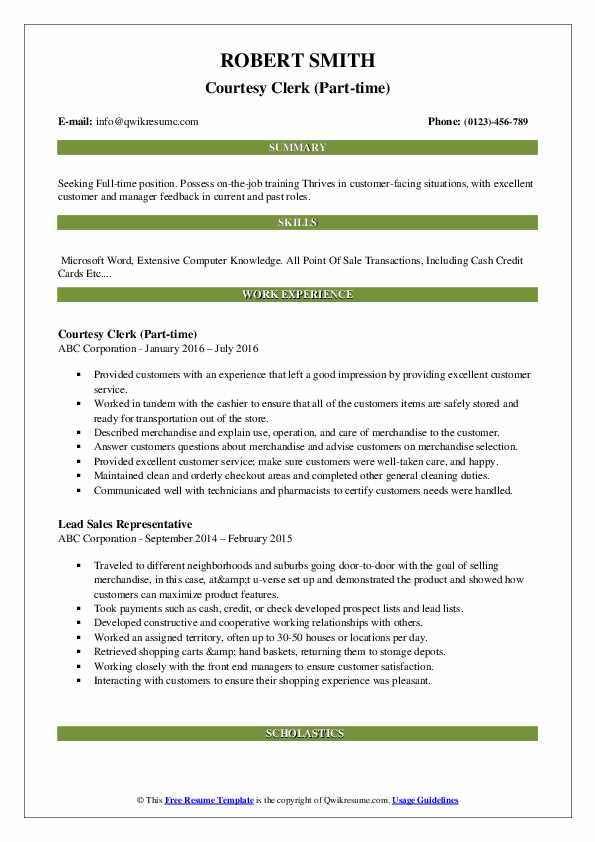 Courtesy Clerk (Part-time) Resume Format