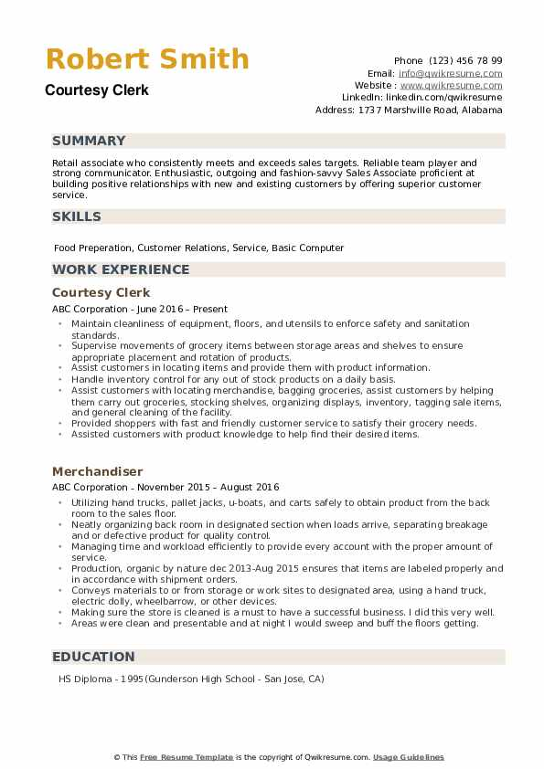 Courtesy Clerk Resume example