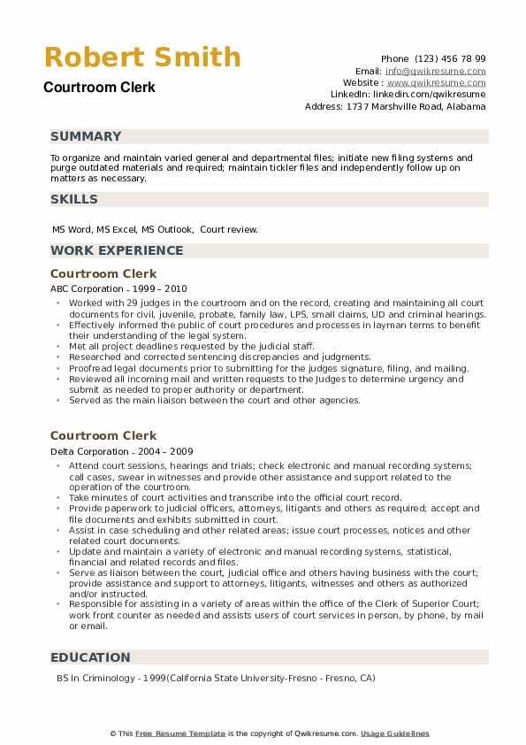 Courtroom Clerk Resume example