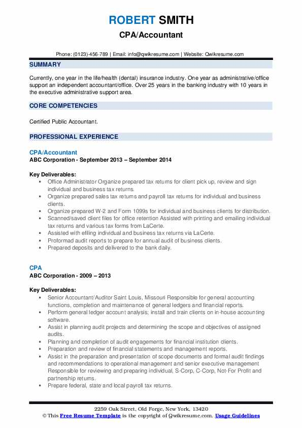 CPA/Accountant Resume Format