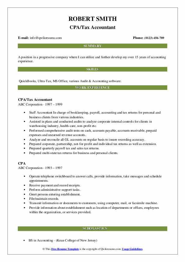 CPA/Tax Accountant Resume Format