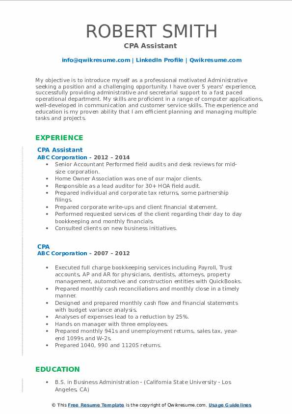 CPA Assistant  Resume Format