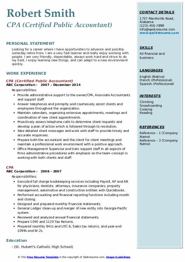 CPA (Certified Public Accountant) Resume Format