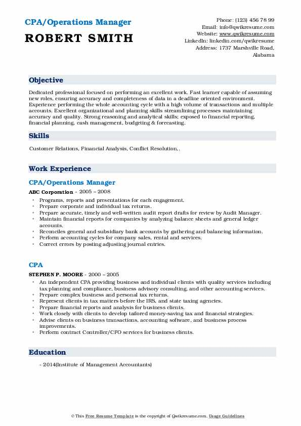 CPA/Operations Manager Resume Format