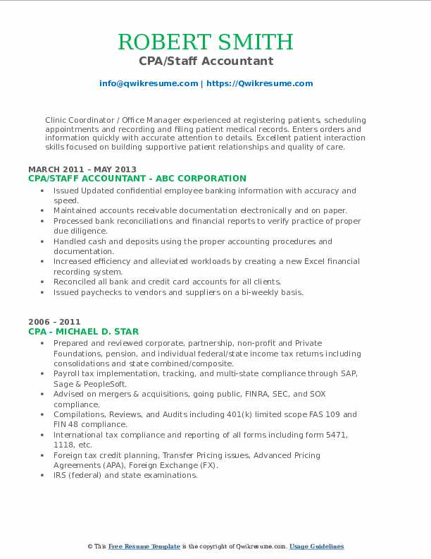 CPA/Staff Accountant Resume Example