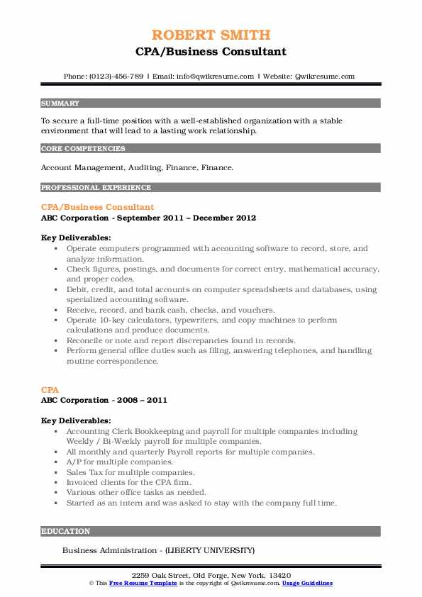 CPA/Business Consultant Resume Sample