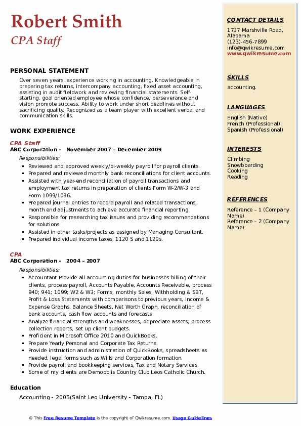 CPA Staff Resume Sample
