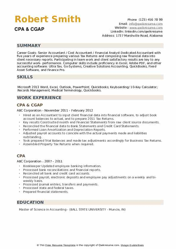 CPA & CGAP Resume Example