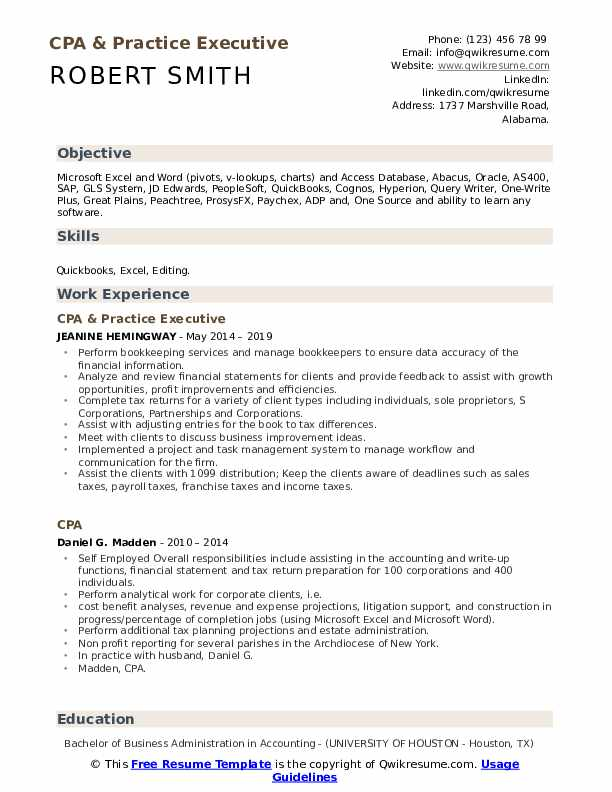 CPA & Practice Executive Resume Template