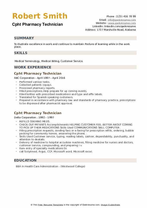 CPhT Pharmacy Technician Resume example