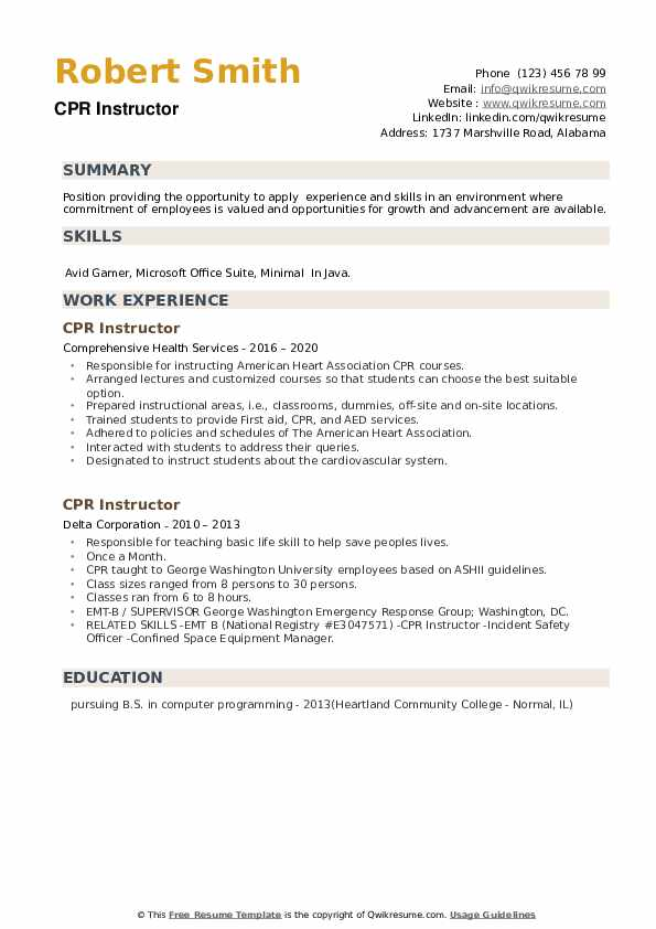CPR Instructor Resume example