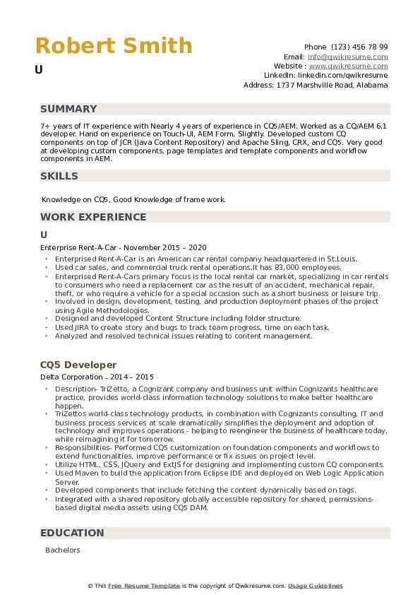 CQ5 Developer Resume example