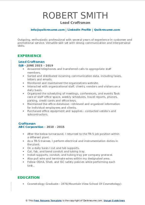 Lead Craftsman Resume Sample