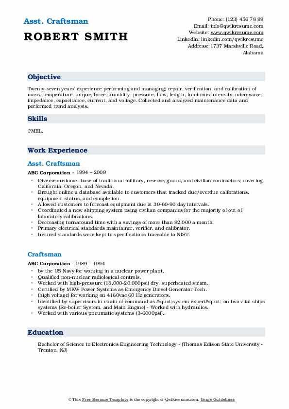 Asst. Craftsman Resume Format