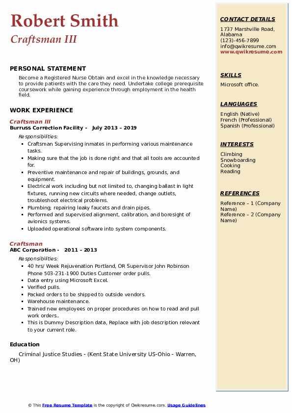 Craftsman III Resume Format