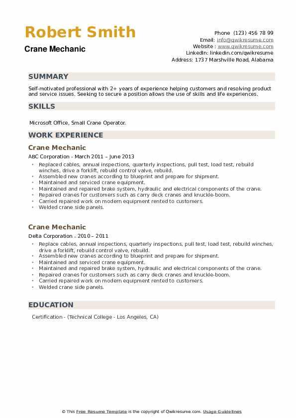 Crane Mechanic Resume example