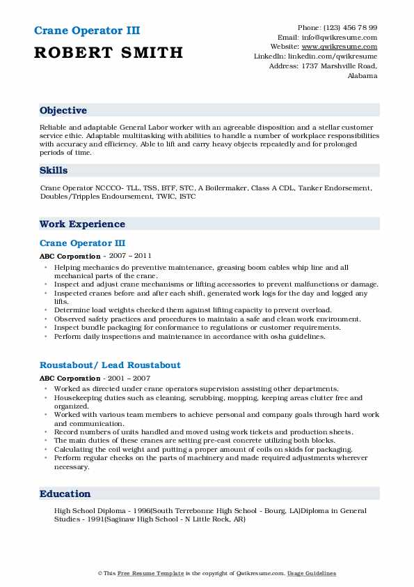 Crane Operator Resume Samples | QwikResume
