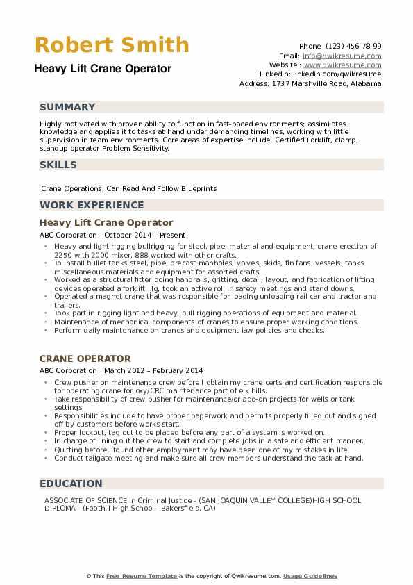 crane operator resume samples
