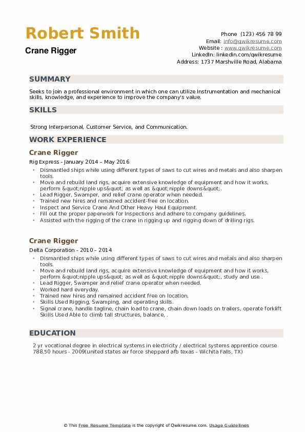 Crane Rigger Resume example