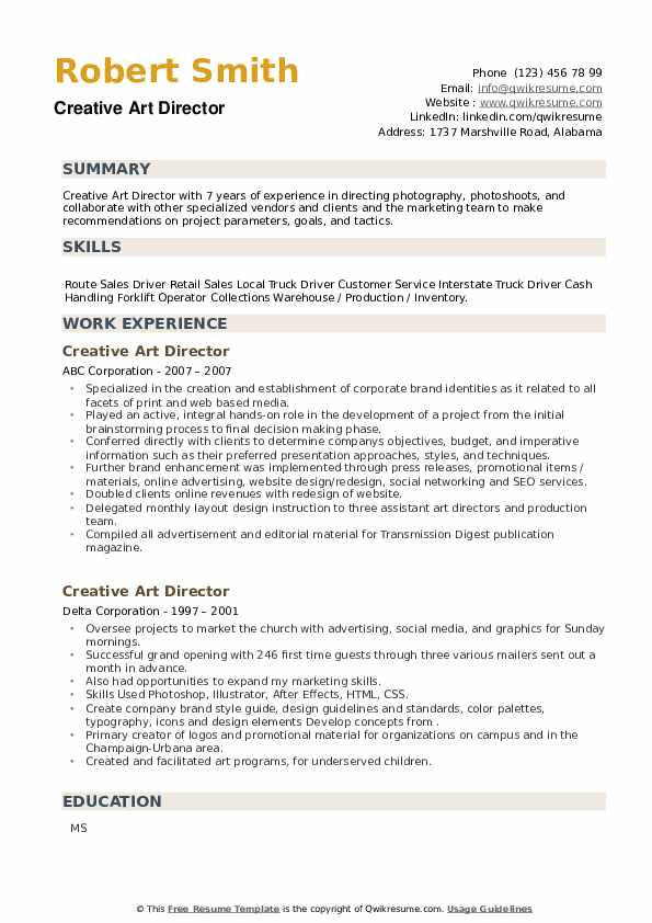 Creative Art Director Resume example