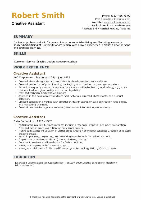 Creative Assistant Resume example