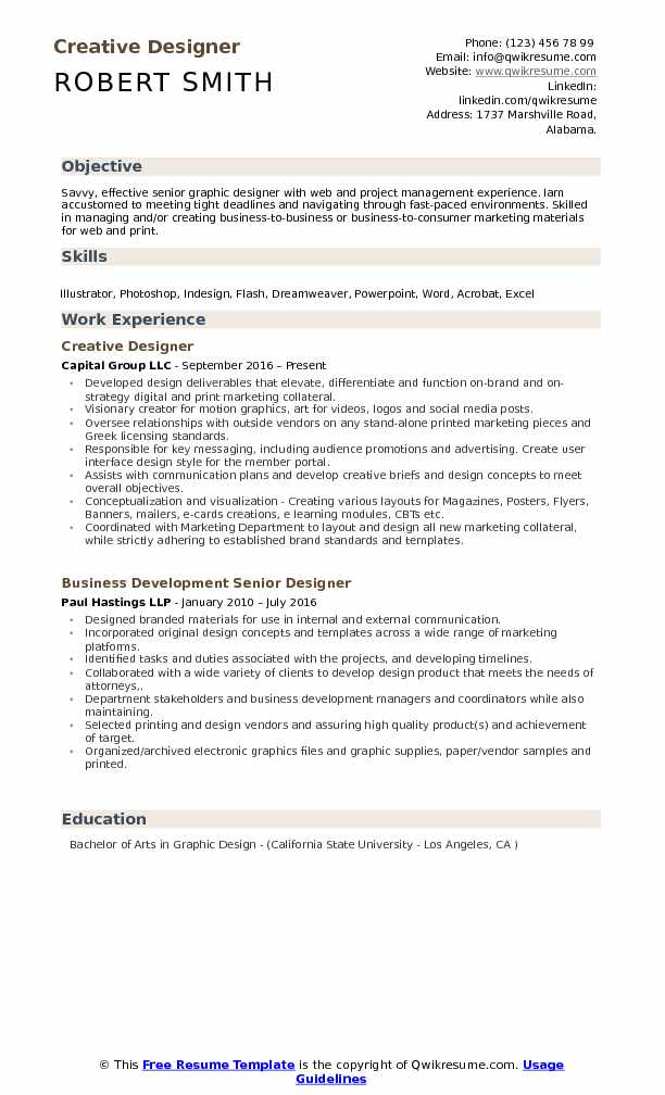 Creative Designer Resume Model