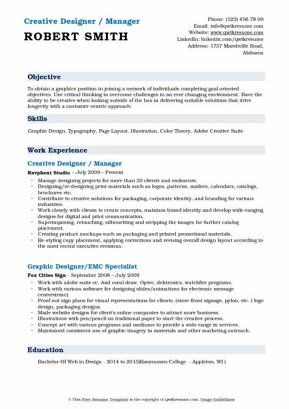 Creative Designer / Manager Resume Format