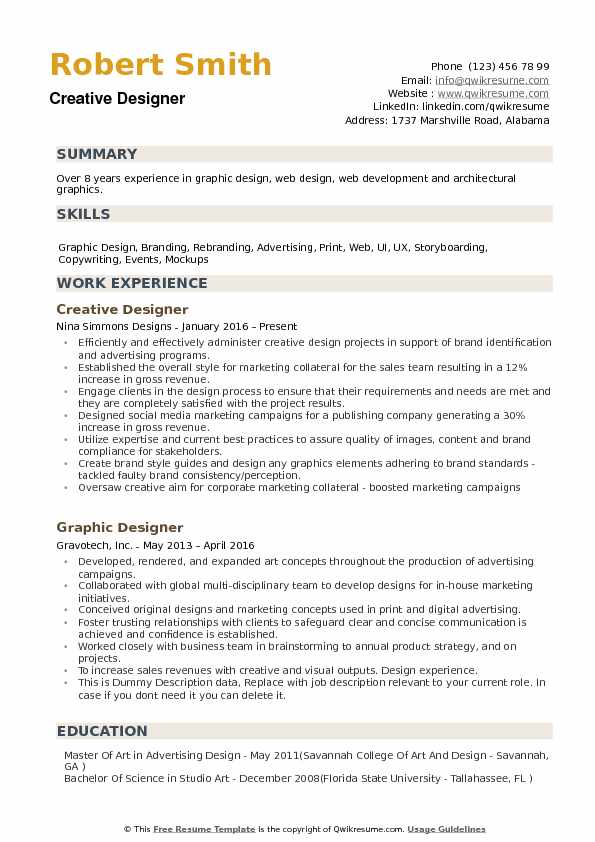 Creative Designer Resume example