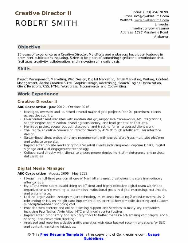 Creative Director Resume Samples Qwikresume