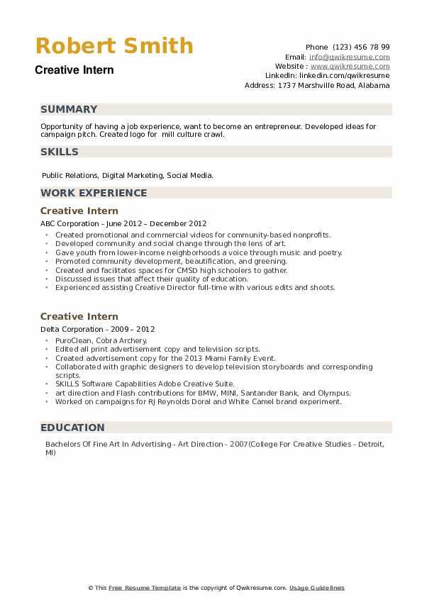 Creative Intern Resume example