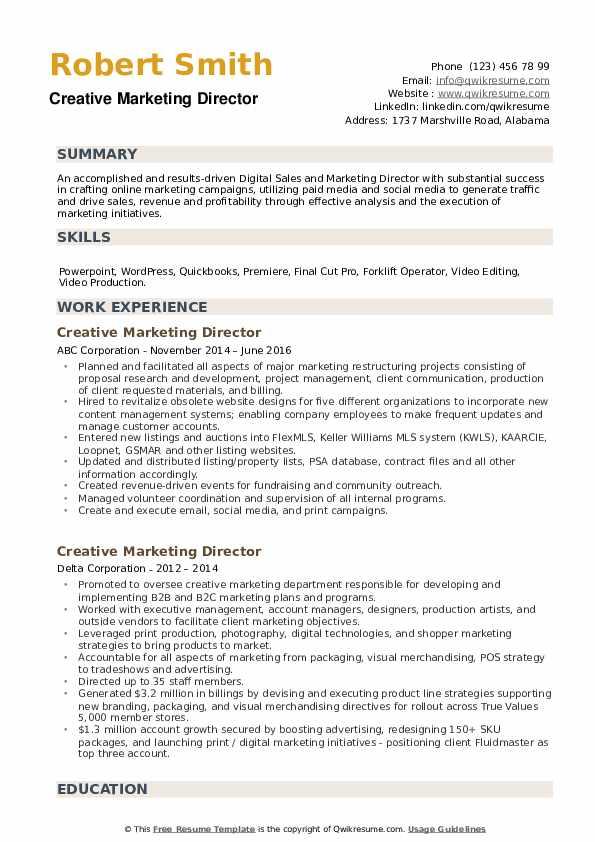 Creative Marketing Director Resume example