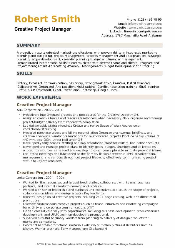 Creative Project Manager Resume example