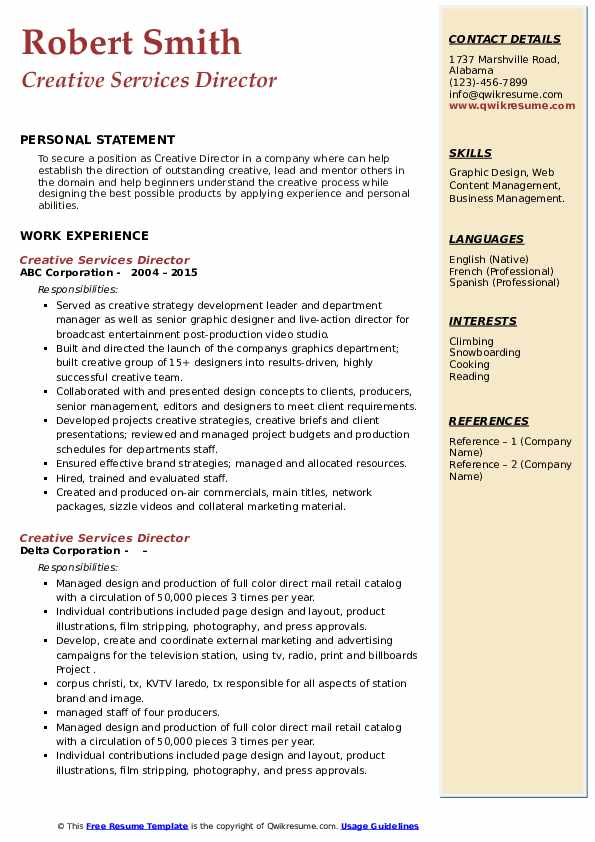 Creative Services Director Resume example