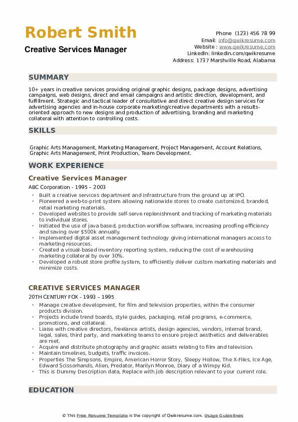 Creative Services Manager Resume example