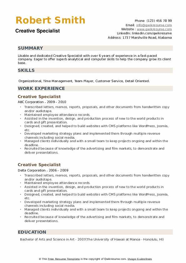 Creative Specialist Resume example