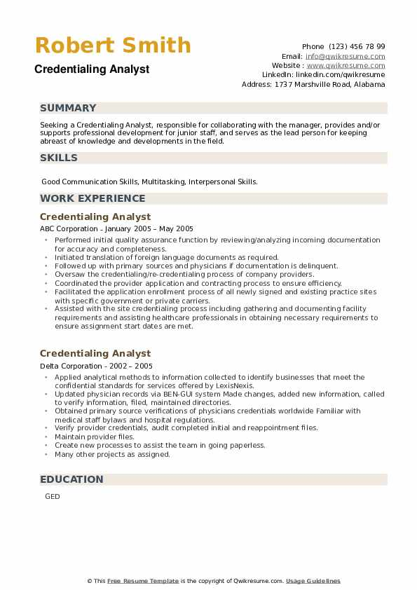 Credentialing Analyst Resume example