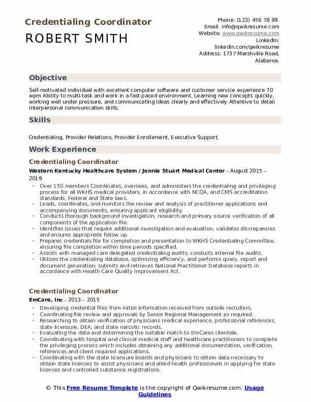Credentialing Coordinator Resume Format