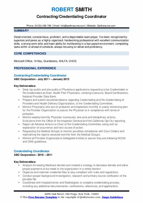 Contracting/Credentialing Coordinator Resume Example