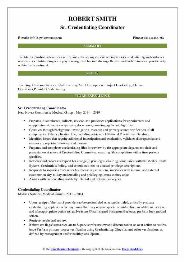 Sr. Credentialing Coordinator Resume Example