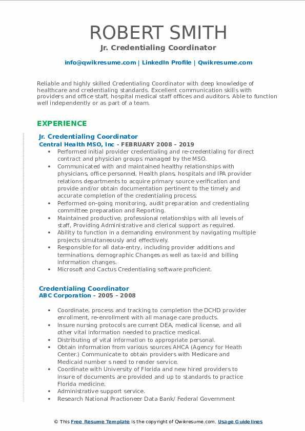 Jr. Credentialing Coordinator Resume Model