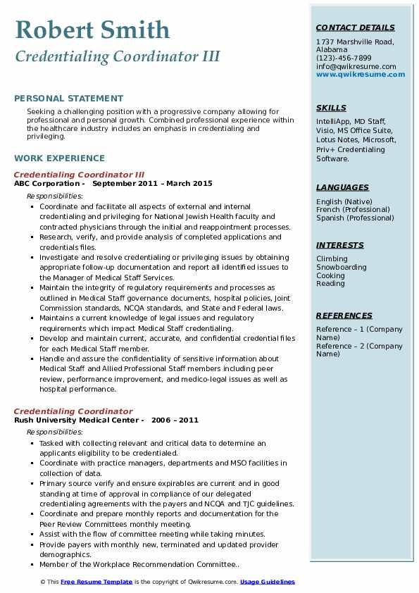 Credentialing Coordinator III Resume Template