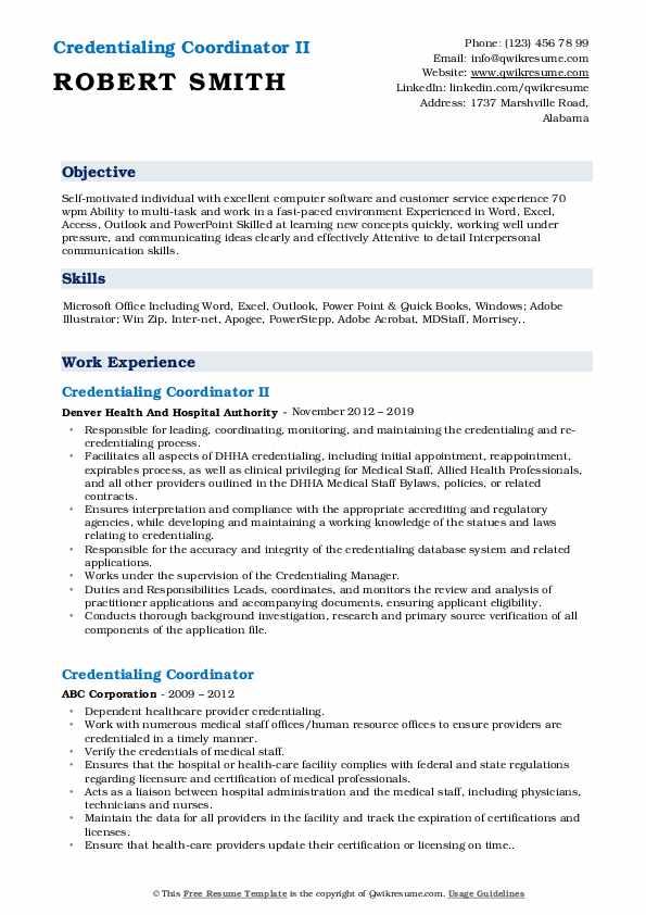 Credentialing Coordinator II Resume Format