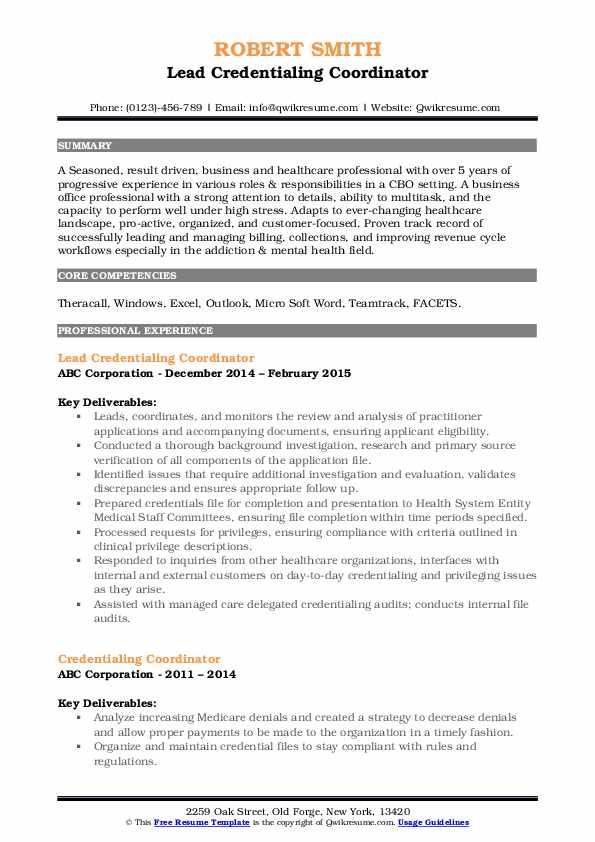 Lead Credentialing Coordinator Resume Template
