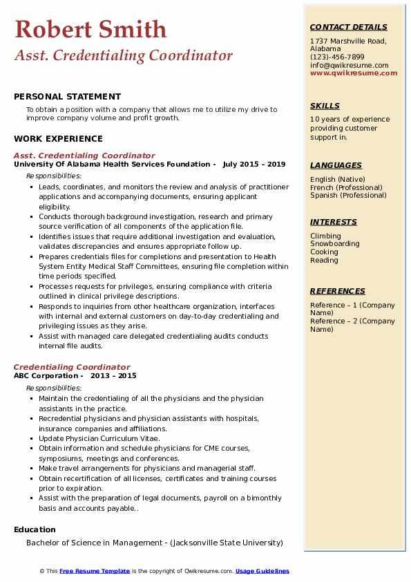 Asst. Credentialing Coordinator Resume Model