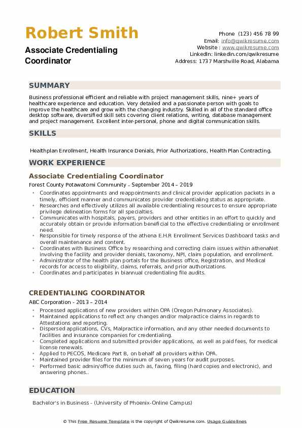 Associate Credentialing Coordinator Resume Sample