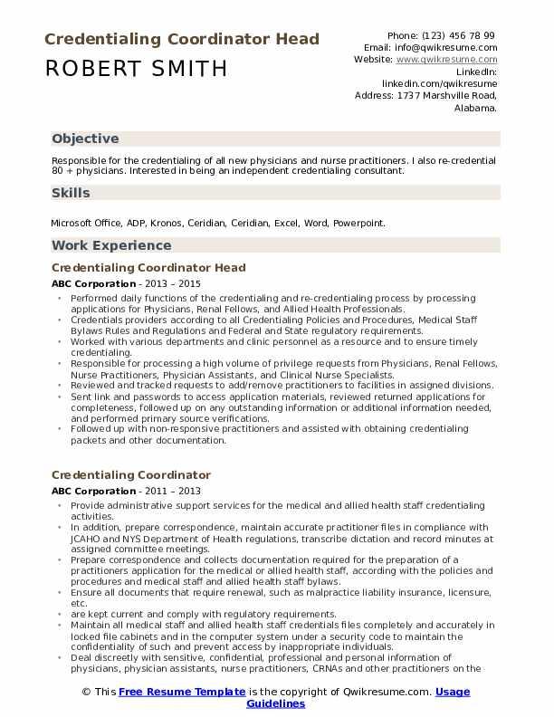 Credentialing Coordinator Head Resume Model